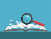 Magnifying glass on open book lying on table on blue background. Education, reading, knowledge and search concept. Flat design. Vector illustration. EPS 8, no transparency
