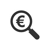 Magnify glass with euro sign icon in flat style. Loupe, money vector illustration on white isolated background. Search bill business concept.
