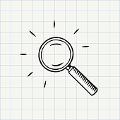 Search symbol. Hand drawn sketch in vector