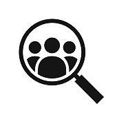 Magnifying glass looking for people icon, employee search symbol concept, headhunting, staff selection, simple black vector illustration