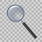 Magnifying glass on transparent background. Vector illustration