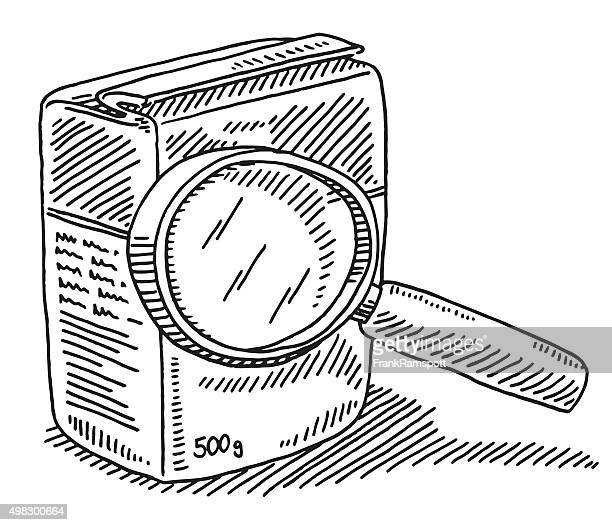 Magnifying Glass Over Product Packaging Drawing