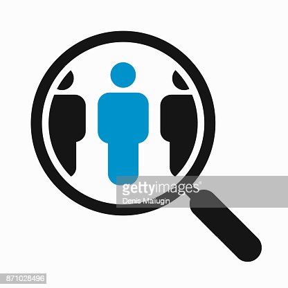 Magnifying glass search people : stock vector