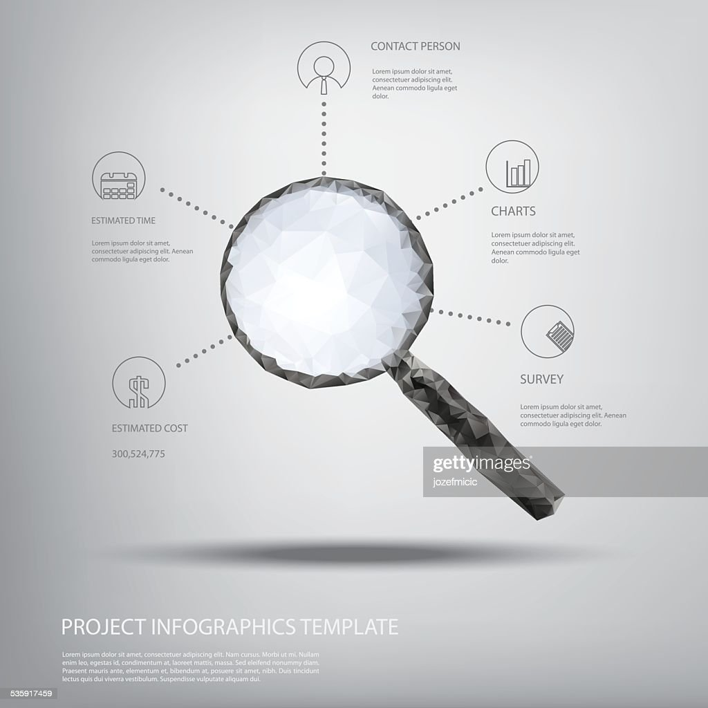 Magnifying glass symbol in modern low polygonal shapes and infographics : Vector Art