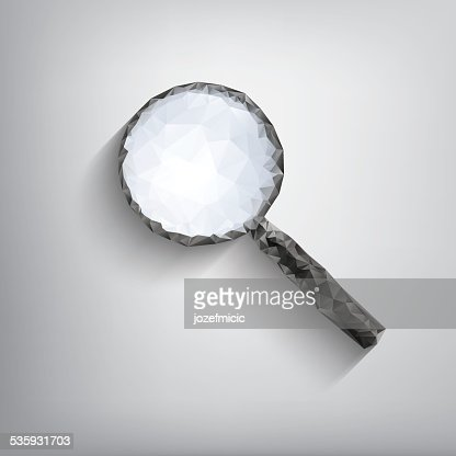 Magnifying glass symbol in modern low polygonal shapes on grey : Vector Art