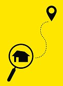 Magnifying glass with home on the map and icon location. Find house. Flat style. Vector.