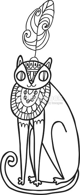 Maharaja Garden Wild Cat For Coloring Adult Page Vector Art