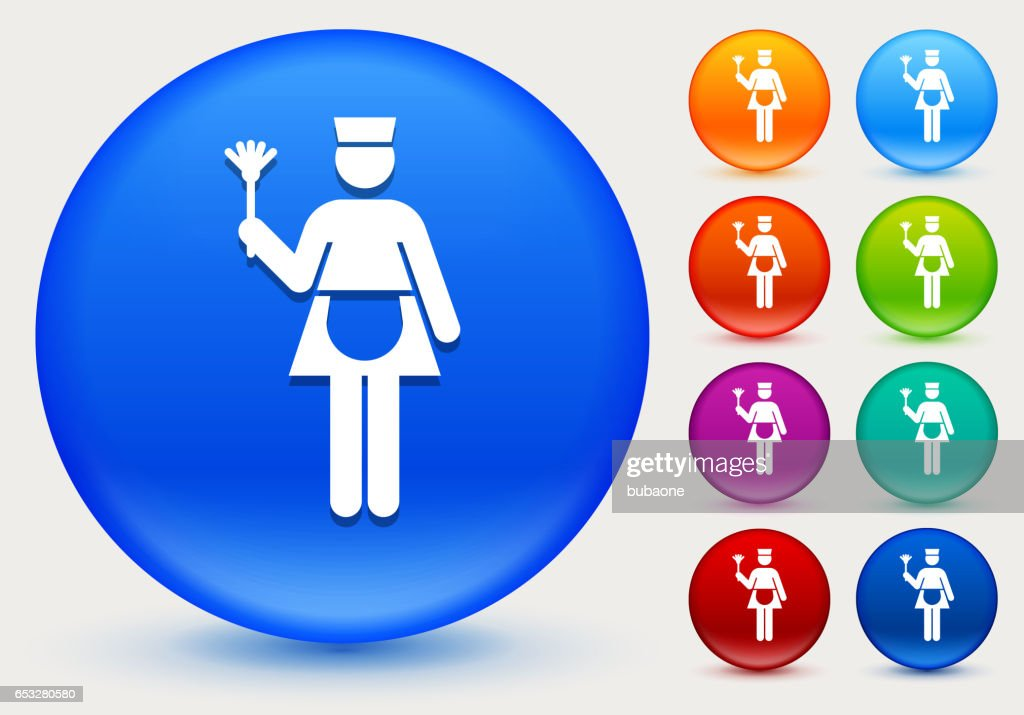 Maid Icon on Shiny Color Circle Buttons : Vector Art