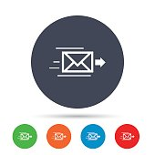 Mail delivery icon. Envelope symbol. Message sign. Mail navigation button. Round colourful buttons with flat icons. Vector