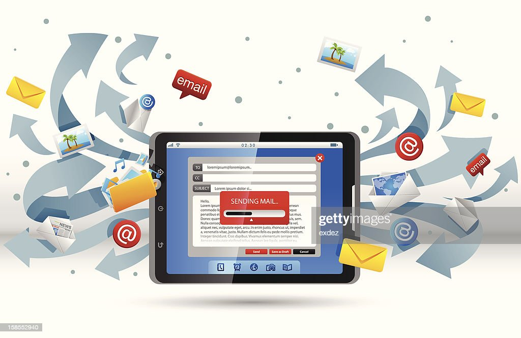 Mail from Tablet PC : Vector Art