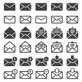 e-mail, mail or sms icons vector set