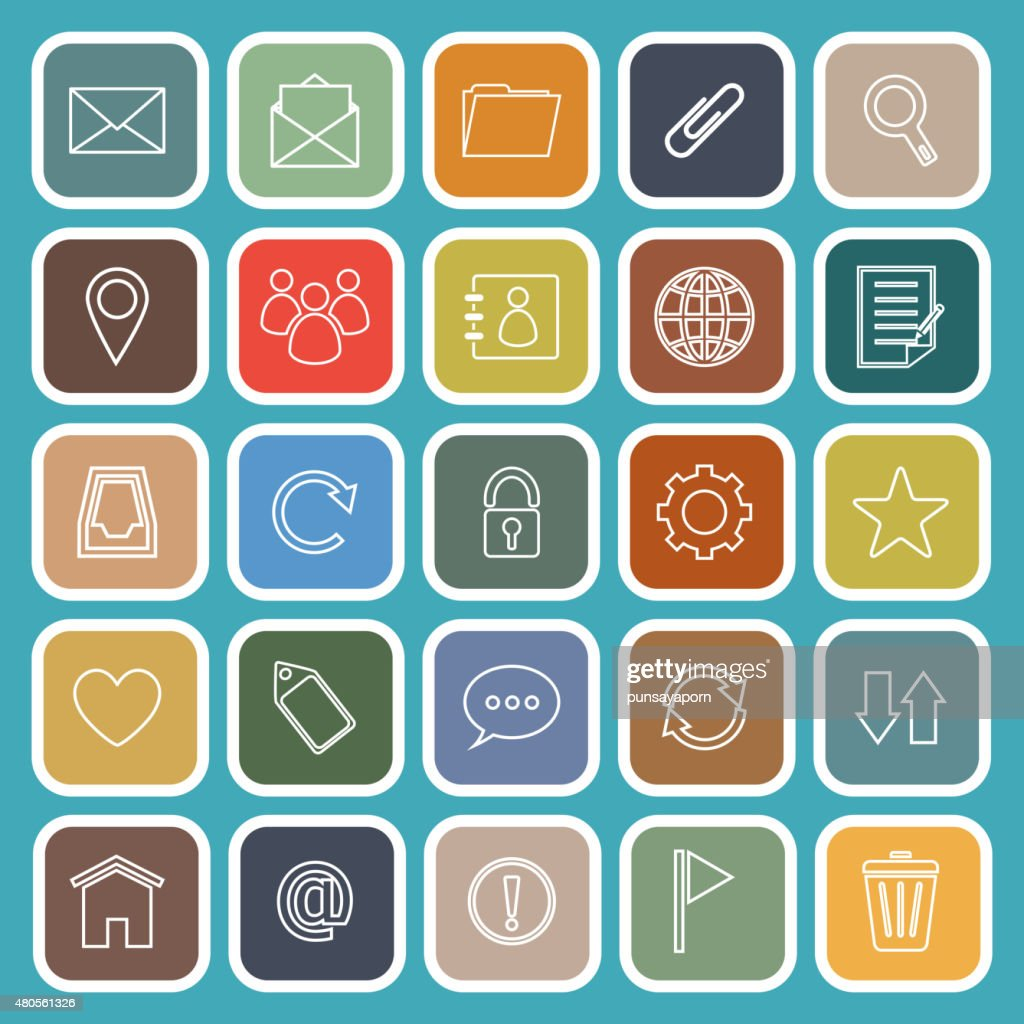 Mail line flat icons on blue background : Vector Art