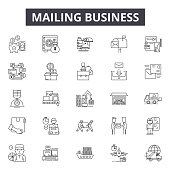 Mailing business line icons, signs set, vector. Mailing business outline concept illustration: business,mail,internet,web,computer,message