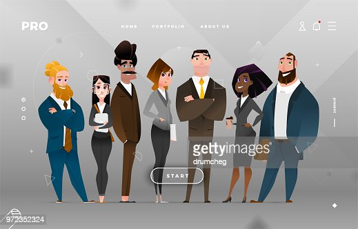 Main Page Business Design with Cartoon Character : stock vector
