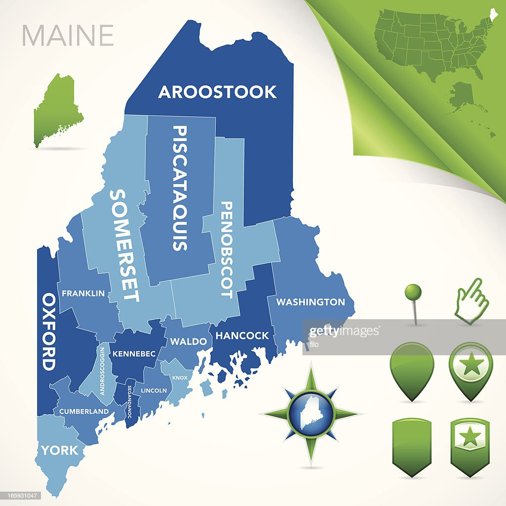 Maine County Map Vector Art Getty Images - Maine county map