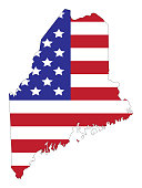 vector illustration of Maine map with american flag