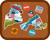 Maine, Maryland travel stickers with scenic attractions and retro