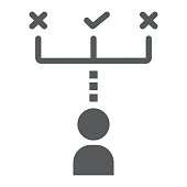 Make decision glyph icon, development and business, direction sign vector graphics, a solid pattern on a white background, eps 10.