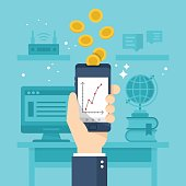 Make money online with smartphone concept. Flat stylish vector illustration