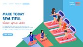 Make Today Beautiful Horizontal Banner with Copy Space. Athletic Girls Training in Gym Jogging Trademill in Fitness Center. Man and Woman Doing Yoga. Exercising. 3d Flat Vector Isometric Illustration