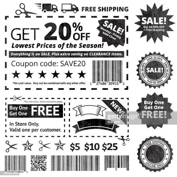 Make Your Own Coupon Sale black and white icon set