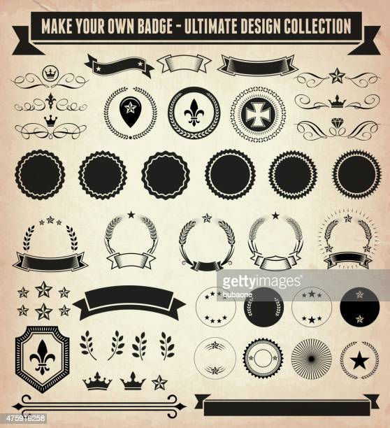 Make your own custom badge old paper vector design collection