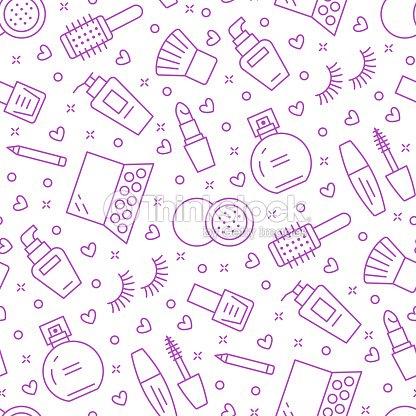 Cosmetics illustrations of lipstick, mascara, perfume, eyeshadows, nail polish. Cute repeated background wallpaper signs make up store