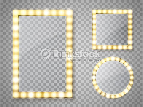 Makeup Mirror Isolated With Lights Vector Square And Round