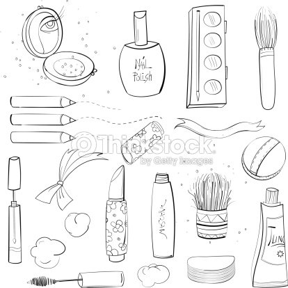 Makeup set sketch drawing stock vector thinkstock - Palette dessin ...