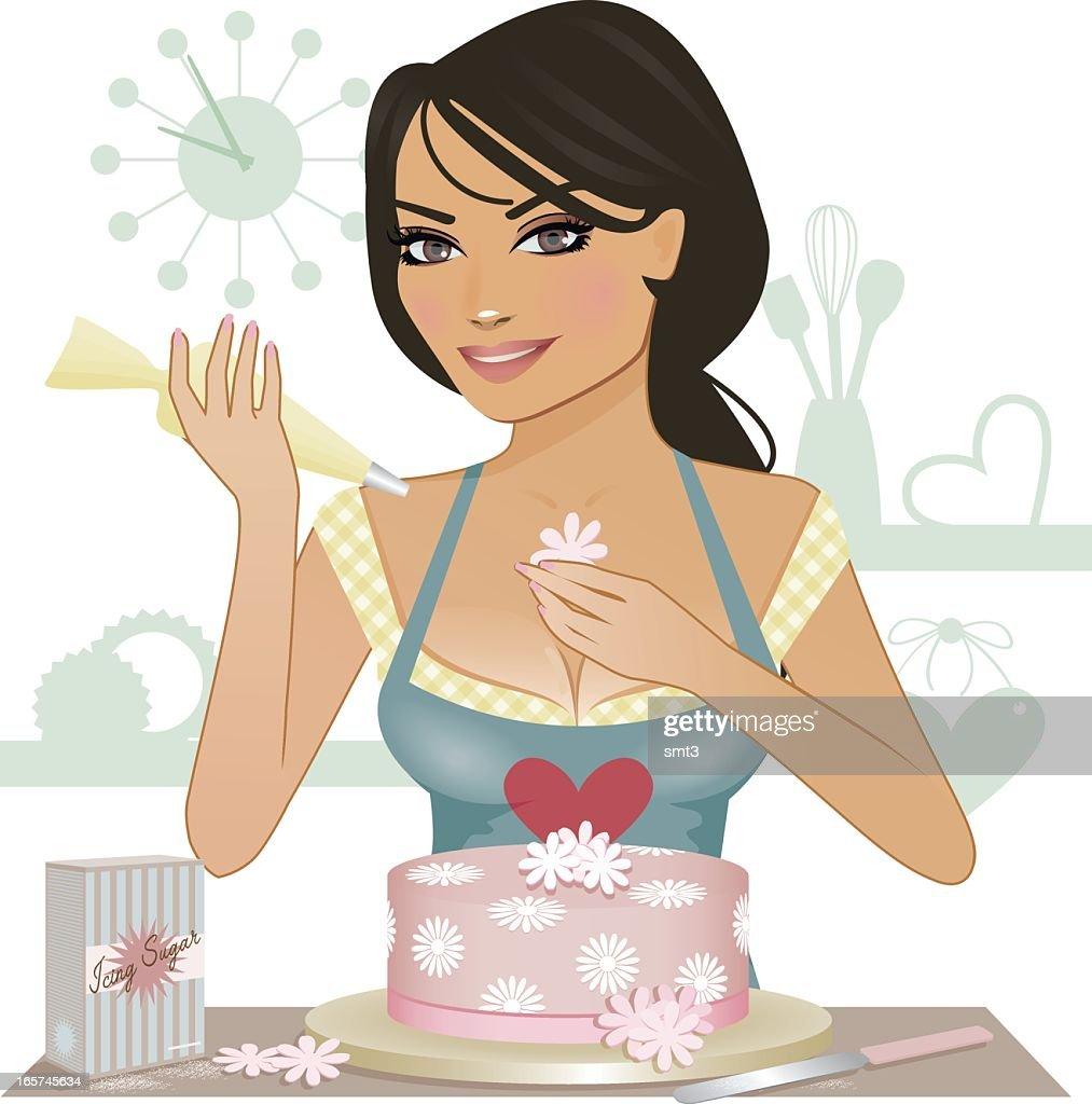 Making a Cake : Vector Art