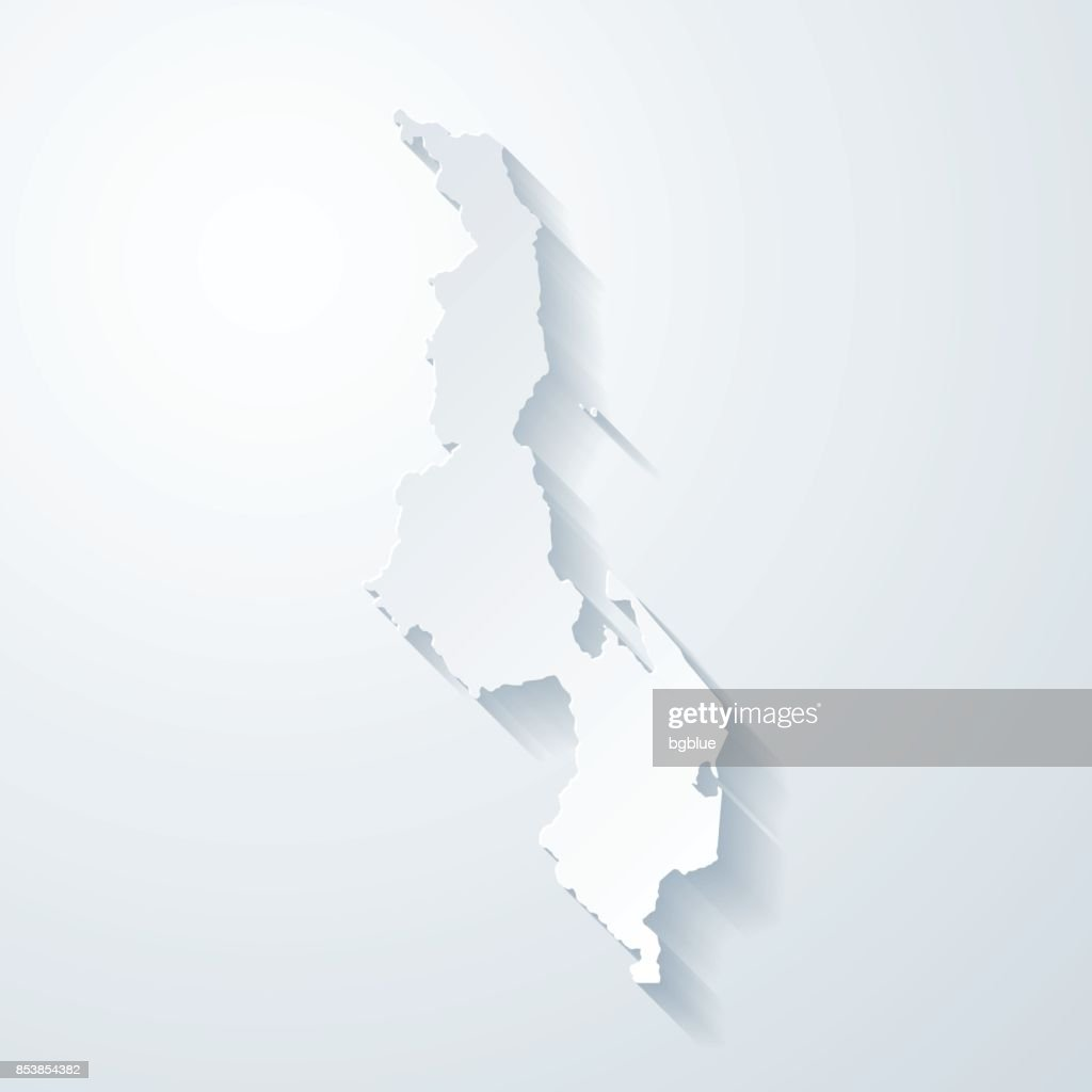 Malawi Map With Paper Cut Effect On Blank Background Vector Art - Malawi blank map