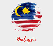 Watercolor imitation brushed Flag of Malaysia in grunge round shape. Jalur Gemilang. Background with Malaysia flag for your designs.