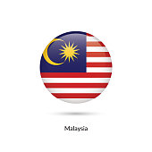 Malaysia flag - round glossy button. Vector Illustration.
