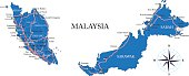 Highly detailed map of Malaysia.