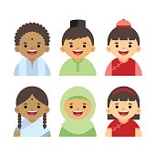 Cute Malaysian boys & girls cartoon character. Malay, Indian & Chinese kids wearing traditional costume. Vector illustration.