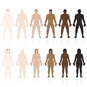 Male and female bodies with different skin types. Very fair, fair, medium, olive, brown and black. Isolated vector illustration on white background.