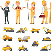 Male and female characters of builders and different illustrations of construction equipment, machines. Vector worker builder man and woman