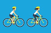 Male and female cyclists vector illustration. Man and woman riding sport bicycles, flat cartoon style.