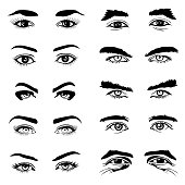 Male and female eyes and eyebrows vector elements. Human eyeball and look illustration