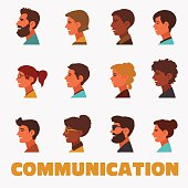 Group of happy smiling young people. Male and female faces avatars in modern design style. Communication, assistance and connection vector concept