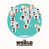Male and female faces avatars on World map. Communication concept