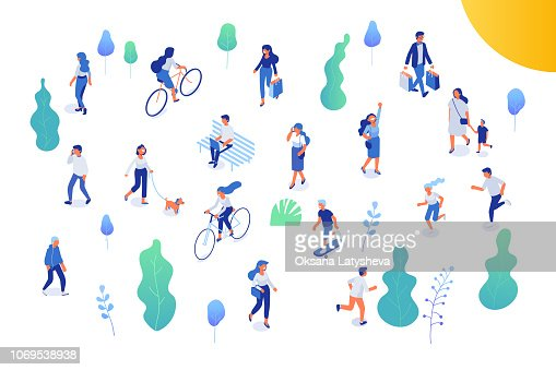 Male and female have outdoor activity in park. : stock vector