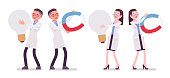 Male and female scientist and giant things. Expert of physical or natural laboratory in white coat with tools. Science and technology. Vector flat style cartoon illustration isolated, white background