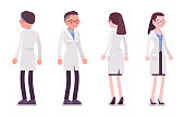 Male and female scientist standing. Expert of physical or natural laboratory in white coat. Science, technology. Vector flat style cartoon illustration isolated on white background, front, rear view