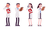 Male and female scientist standing. Expert of physical or natural laboratory in white coat. Science and technology. Vector flat style cartoon illustration isolated, white background, front, rear view