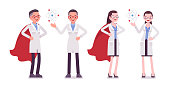 Male and female scientist with symbols. Expert of physical or natural laboratory in white coat. Science and technology concept. Vector flat style cartoon illustration isolated on white background