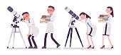 Male and female scientist with telescope. Successful expert of physical or natural laboratory in white coat. Science and technology. Vector flat style cartoon illustration isolated on white background