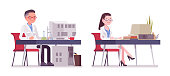 Male and female scientist working at desk. Expert of physical or natural laboratory in white coat at computer. Science and technology. Vector flat style cartoon illustration isolated, white background