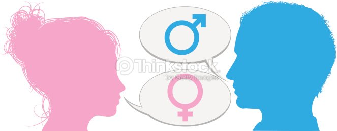 Male And Female Side Profiles With Male And Female Symbols Vector