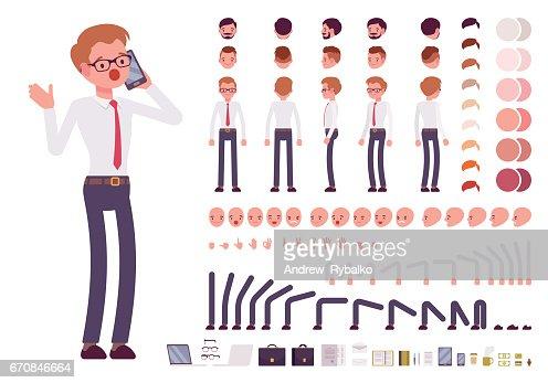 Jeu de création de caractères masculins greffier : Clipart vectoriel